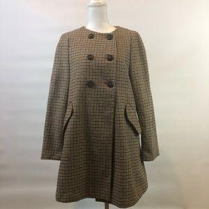Zara Basic XL houndstooth wool blend coat